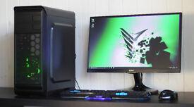 New Cheap Fast Gaming PC Intel Quad Core 8GB DDR3 Windows 10 Nvidia GTX Green LED Quiet Fan