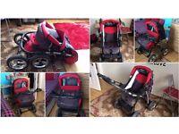 Pram Pushchair Baby Merc Junior, Traditional Wheels, As New Condition