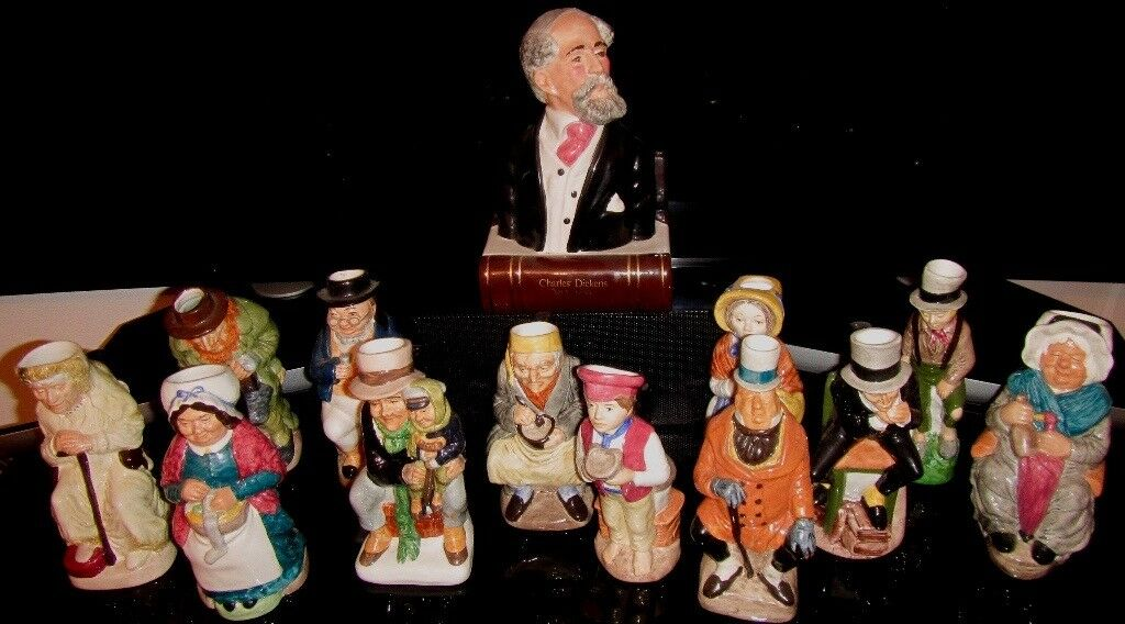 Set of 12 Dickens character Toby Jugs + Bust of Charles Dickens