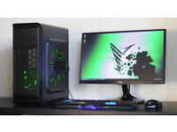 New Custom Decal Fast Gaming PC Intel Quad Core 8GB DDR3 Windows 10 Nvidia GTX Green LED Quiet Fan