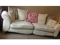 DFS jumbo cord cream curved 4 seater sofa+chair