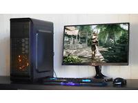 New Fast Gaming PC Intel Quad Core 8GB DDR3 Windows 10 Nvidia GTX Blue LED Quiet Fan