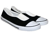 Ladies New Black Flat Espadrilles Pumps Plimsolls Loafers Deck Boat Shoes with White Gusset.Size 4.