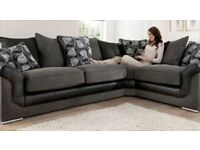 BLACK/GREY BRAND NEW CORNER SOFA EXPRESS FREE DELIVERY