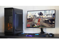 Gaming PC Computer Desktop Intel Quad Core Windows 10 Nvidia GTX Orange LED Quiet Fan