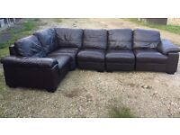 6 seater Brown leather sofa few different formations easy assemble .