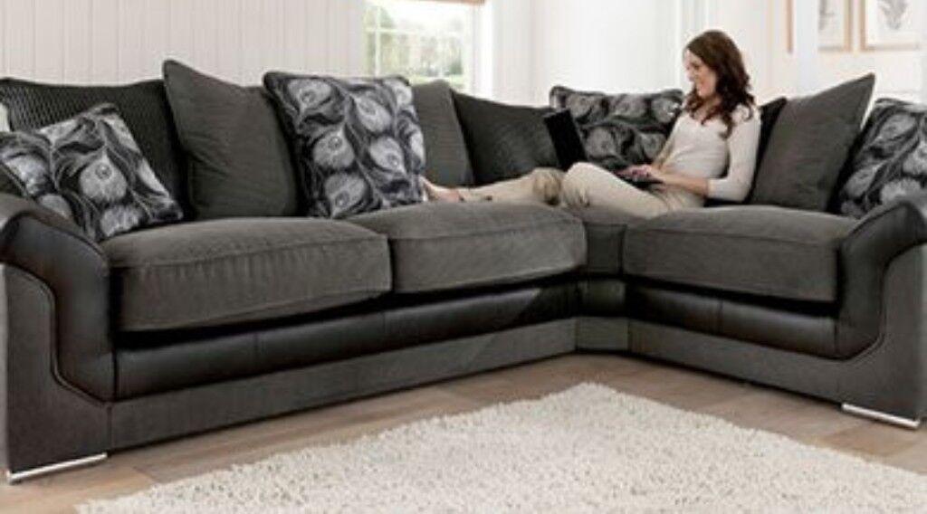 Black Grey Brand New Corner Sofa Express Free Delivery