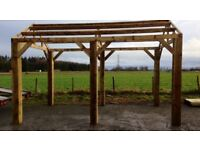 new 4.8m apex wooden car port hot tub bbq shelter