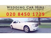 Wedding Car Hire, Rolls Royce Phantom Hire, Range Rover Hire, Classic Car Hire, Limo etc