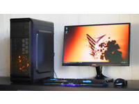 Gaming PC Computer Desktop Intel Quad Core Windows 10 Nvidia GTX Red LED Quiet Fan