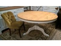 Rare Tilt Top Solid Pine Round Dining Table *FREE DELIVERY* Vintage White Farmhouse Shabby Chic(oak)