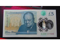 Collectable £5 note with sort after 007 serial as pictured circulated (Bath BA2)