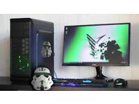 Gaming PC Computer Desktop Intel Quad Core Windows 10 Nvidia GTX Orange LED Quiet Fan