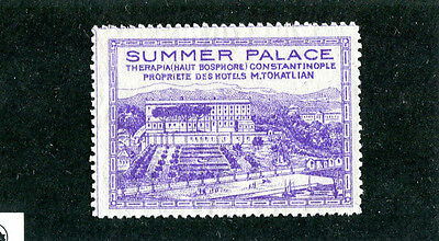 Poster Stamp Label SUMMER PALACE HOTEL Constatninople Turkey Istanbul  #IM
