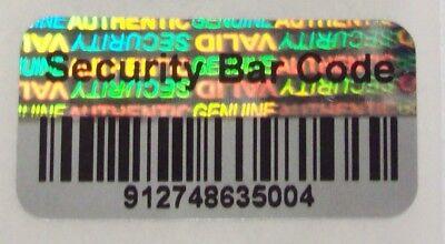 100 Security Barcode Hologram Tamper Evident Label Stickers Seals Full Release