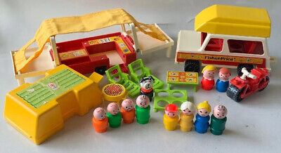 Vintage Fisher Price Little People Play Family POP UP CAMPER #992 COMPLETE