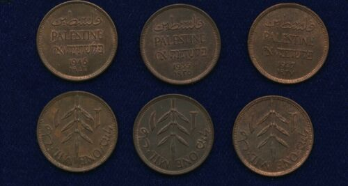 PALESTINE, LOT OF (3) 1 MIL COINS, 1927, 1935, 1946, ALMOST UNC. to UNCIRCULATED