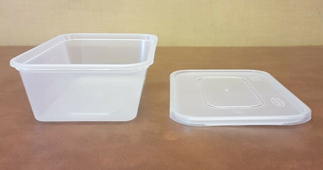 250 x Heavy Duty Clear Plastic 650ml Containers with Lids Satco Microwave Safe