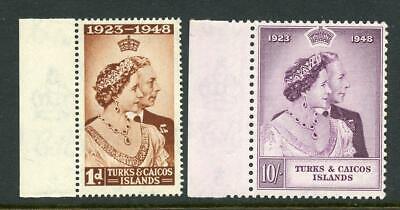 Turks and Caicos Islands 1948 Silver Wedding Set SG208/9  fine MNH