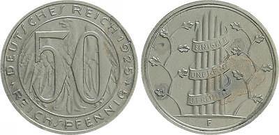 WEIMAR 50 Pfennig 1925 F Gestaltungsprobe zu J.324/318 Cu-Ni ss-vz,