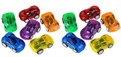 """LOT OF 12 MINI PULL BACK CARS 2.25"""" PARTY FAVOR, GOODY BAGS, TREAT BOXES, TOY"""
