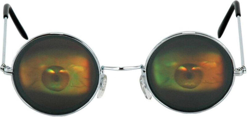 Morris Costumes Unisex Eyeball Holografix Wire Frame Metal Glasses. ELS12012