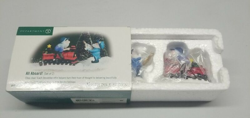 Dept. 56 North Pole Series All Aboard! 56803 Train Cars Elves Stopwatch Holiday