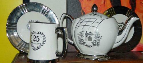 "VINTAGE Royal Winton Grimwades England ""Our Wedding"" 1950s Teapot, Mug- 2 plates"