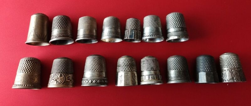 Collection Of 15 Sterling Silver Thimble Large And Small Fancy Gold Size 4-11