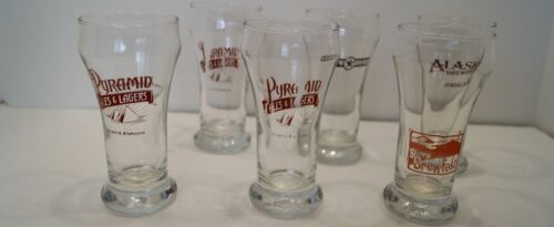 MIXED LOT OF 6 BEER GLASSES  BREWERIES 10 oz GLASSES