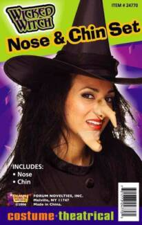 WICKED WITCH NOSE AND CHIN SET