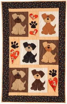 "ADORABLE PUPPY DOGS~Block and Applique' Quilt Pattern~30""x 46""~Cute Heart Paws"