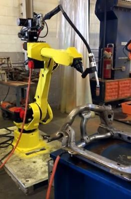 Fanuc 120ib Rj3ib Robot System With Lincoln 455 Weld Supply And Feeder