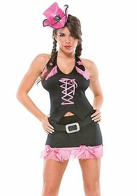 Female Western Costumes (Womens Cowgirl Costume Cow Girl Rodeo Fancy Dress Pink  Black Western Adult)