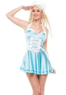 Womens Sexy Sailor Costume Captain Halter Fancy Dress Halloween Adult S M L NEW