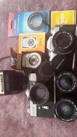 Vintage SLR cameras and equipment