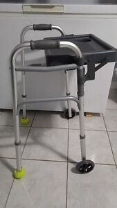 LIKE NEW! Two wheeled foldable walker with folding tray