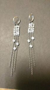 14k White Gold & Crystal Unique Earrings-GORGEOUS! Xmas!!