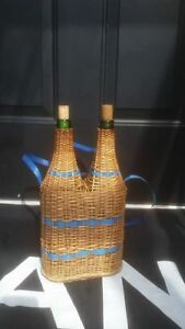 Vintage French Country Wicker Green Wine Bottles Demijohn