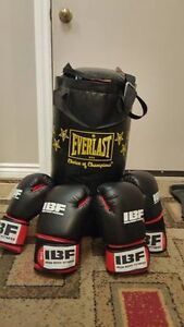 Boxing bag 25 lbs Everlast with 4 boxing gloves. IronNody Fitnes Kitchener / Waterloo Kitchener Area image 1