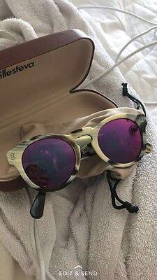 illesteva sunglasses, mirrored pink lenses, worn, with cool tortoise shell frame