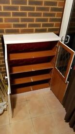 White / Teak Display + Storage Cabinet
