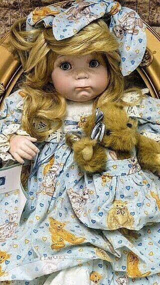 """Cindy M Rolfe """" Happy Birthday Teddy """"-28"""" porc doll #194 All Inc, no box CUTE!"""