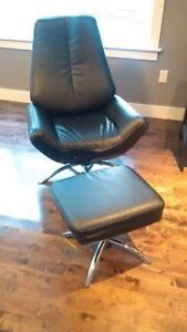 Black leather swivel chair and storage ottoman. Perfect conditio