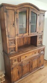 2-piece Mexican Pine Dresser in good condition with display cabinet, storage cupboards and drawers