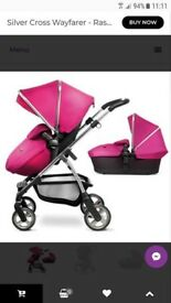 Silver cross wayfayer pink pram