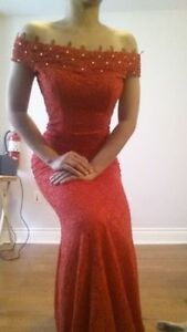 Red Lace Off-shoulder dress (gown) - size small - $25 OBO