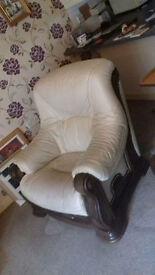 Cream leather Sofa 3-1-1