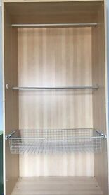 Two poles and one wire draw for Ikea PAX wardrobe - 100cm width (double)