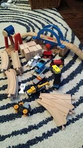 Thomas trains, wooden tracks, Rumble bridge.